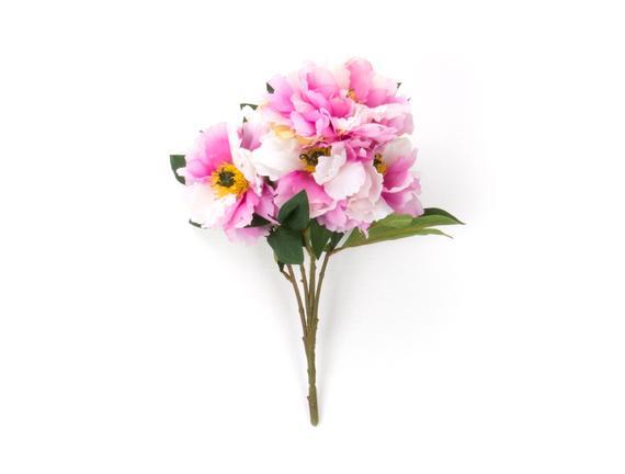 Dekoratif Yapay Çiçek - Pembe / Krem Şakayık Buket