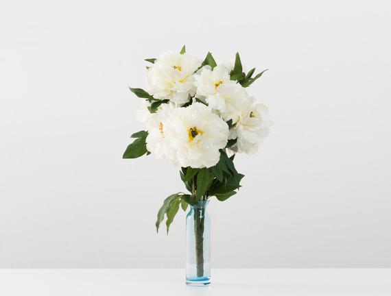 Dekoratif Yapay Çiçek - Beyaz Şakayık Buket