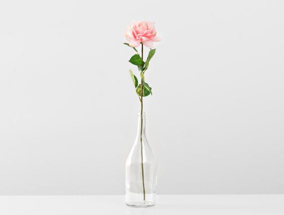 Dekoratif Yapay Çiçek Açık Pembe Gül 67cm