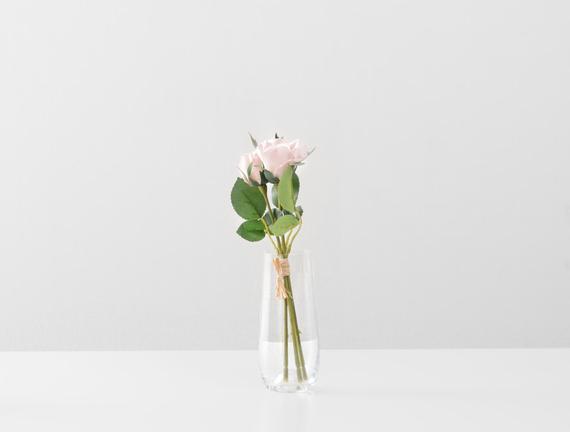 Dekoratif Yapay Çiçek - Açık Pembe Gül Buketi
