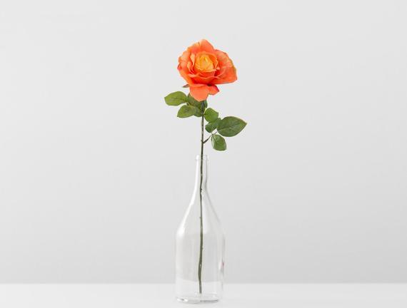 Dekoratif Yapay Çiçek Turuncu Gül 57cm