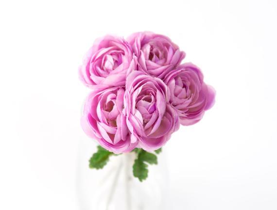 Dekoratif Yapay Çiçek - Açık Mürdüm Düğün Çiçeği Buketi