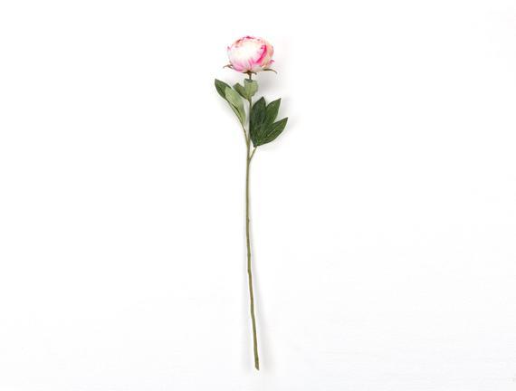 Dekoratif Yapay Çiçek - Beyaz / Fuşya Şakayık