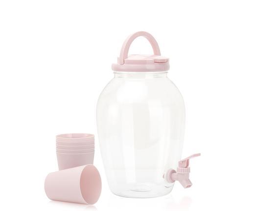 6 Bardaklı Plastik Sebil - Pudra