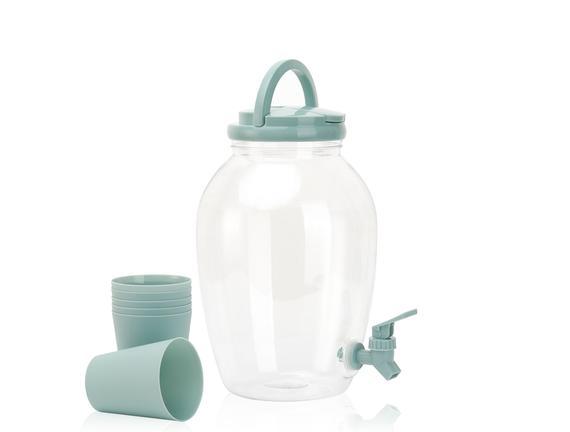6 Bardaklı Plastik Sebil - Yeşil