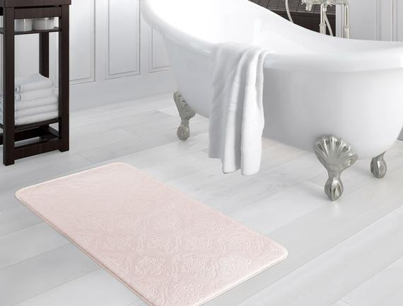 Emboss Banyo Paspası - Pudra