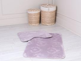 Quilt Banyo Halı Takımı - Mürdüm