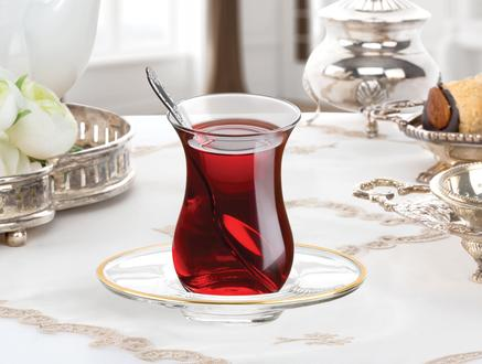Laurel 6'lı Çay Tabağı Seti - Altın