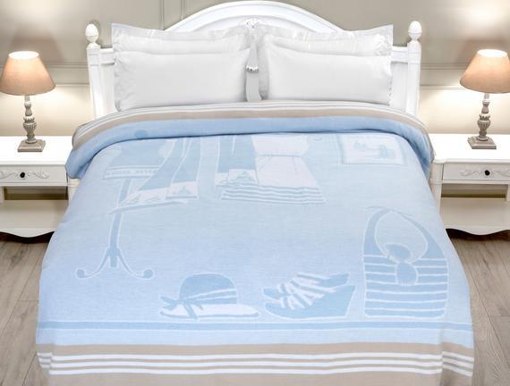Armoire Tek Kişilik Pamuklu Battaniye - Açık Mavi