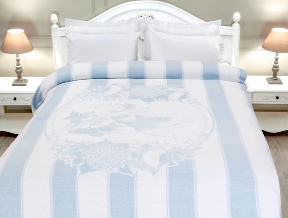 Angel Çift Kişilik Pamuklu Battaniye - Açık Mavi