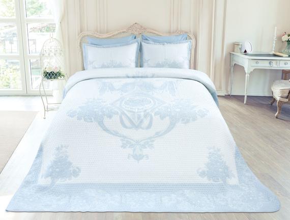 Cottage King Size Yatak Örtüsü  Takımı - Açık Mavi