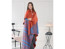 Çizgili Tek Kişilik Pamuklu Battaniye - Kiremit / Mavi