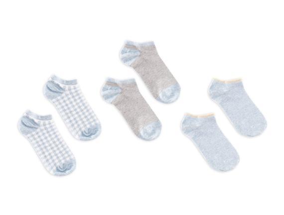 3'lü Ekose ve Simli Patik Çorap - Mavi