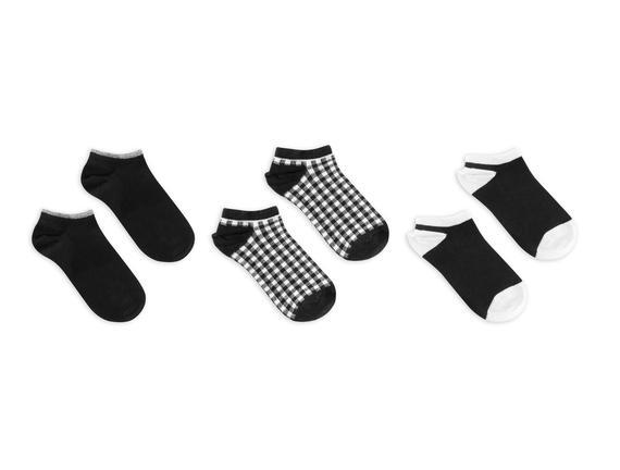 3'lü Ekose ve Simli Patik Çorap - Siyah