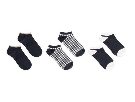 3'lü Ekose ve Simli Patik Çorap - Lacivert
