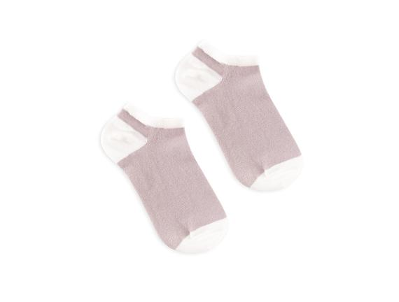3'lü Ekose ve Simli Patik Çorap - Açık Mürdüm