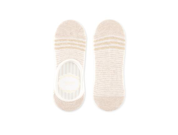 Simli ve Çizgili Babet Çorabı - Bej