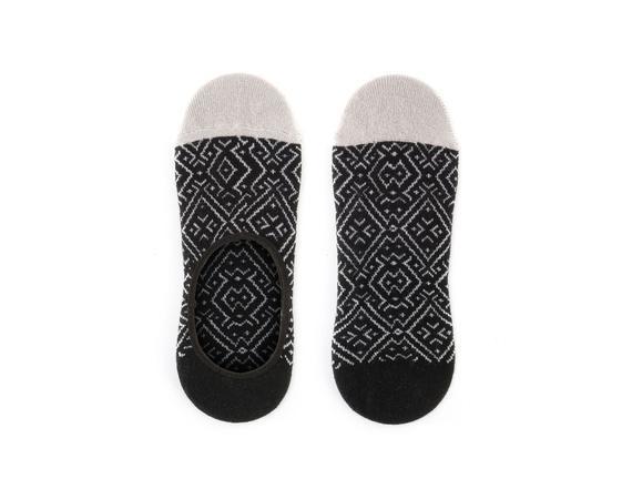 Geometrik Desenli Babet Çorabı - Siyah