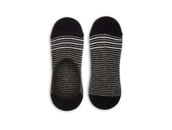 Simli ve Çizgili Babet Çorabı - Siyah
