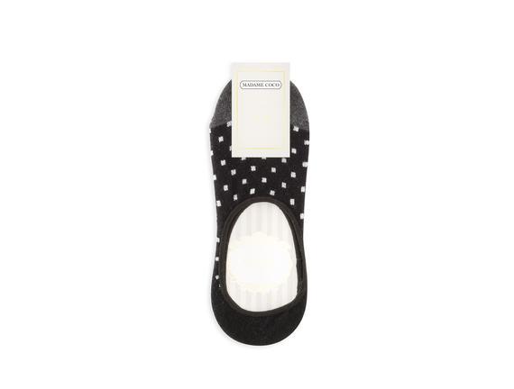 Simli ve Kareli Babet Çorabı - Siyah