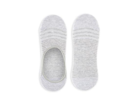 Simli ve Çizgili Babet Çorabı - Gri