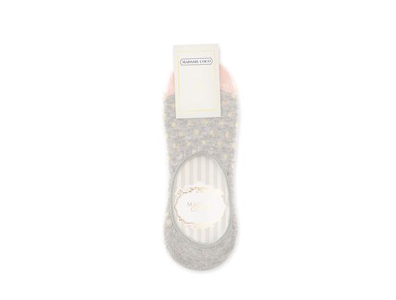 Simli ve Kareli Babet Çorabı - Gri