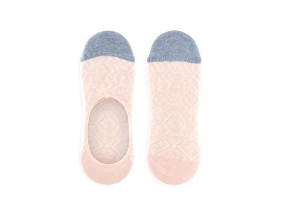 Geometrik Desenli Babet Çorabı - Pudra