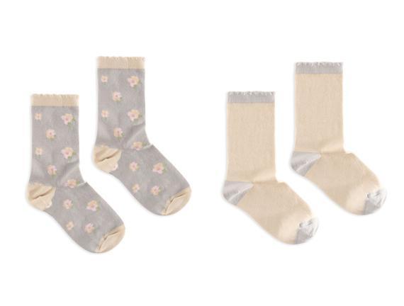 2'li Çiçek Desenli Kadın Çorabı - Gri / Bej
