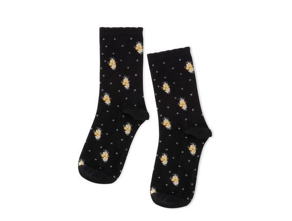 Çiçekli Kadın Soket Çorap - Siyah