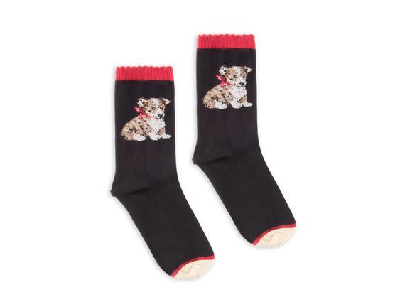 Köpek Desenli Kadın Çorabı - Siyah