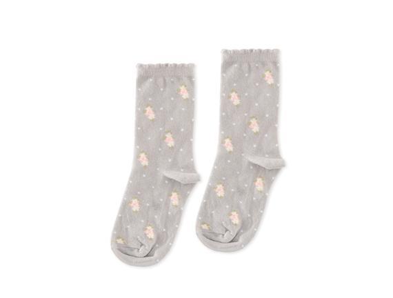 Çiçekli Kadın Soket Çorap - Gri
