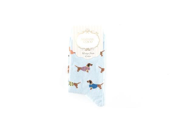 Sosis Köpek Desenli Kadın Çorabı - Mavi