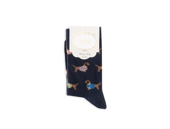 Sosis Köpek Desenli Kadın Çorabı - Lacivert