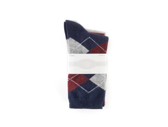 3'lü Ekoseli Kadın Çorabı - Lacivert / Bordo