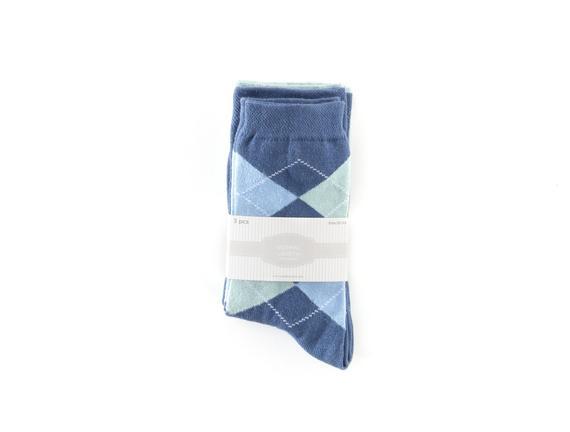 3'lü Ekoseli Kadın Çorabı - Mavi