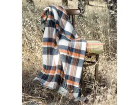 Tek Kişilik Ekoseli Pamuklu Battaniye - Lacivert / Turuncu