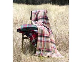 Tek Kişilik Ekoseli Pamuklu Battaniye - Bej / Kırmızı