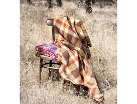 Tek Kişilik Ekoseli Pamuklu Battaniye - Kahve / Sarı