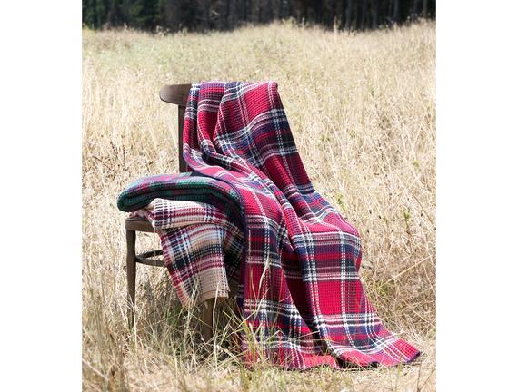 Çift Kişilik Ekoseli Pamuklu Battaniye - Kırmızı / Lacivert
