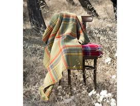 Çift Kişilik Ekoseli Pamuklu Battaniye - Açık Yeşil / Sarı