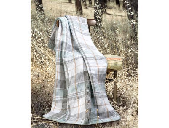 Tek Kişilik Ekoseli Pamuklu Battaniye - Mint / Gri