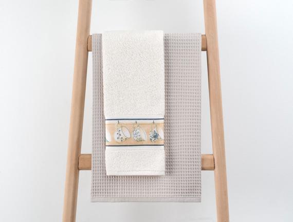 2'li Dijital Baskılı Mutfak Havlusu - Ekru / Mavi - 40x60 cm
