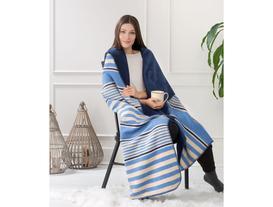 Çizgili Çift Kişilik Pamuklu Battaniye - Lacivert / Mavi