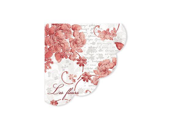 Kırmızı Çiçek Desenli Peçete