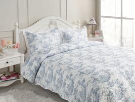 Charpente Çift Kişilik Yatak Örtüsü Seti - Mavi