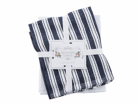 2'li Mutfak Havlusu - Lacivert / Beyaz - 40x60 cm