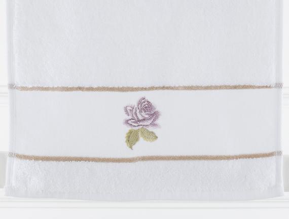 Nakışlı Banyo Havlusu - Beyaz - 30x46 cm