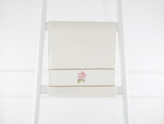 Nakışlı Banyo Havlusu - Ekru