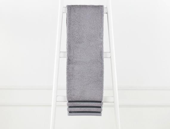 Floşlu Havlu - Gri - 70x140 cm