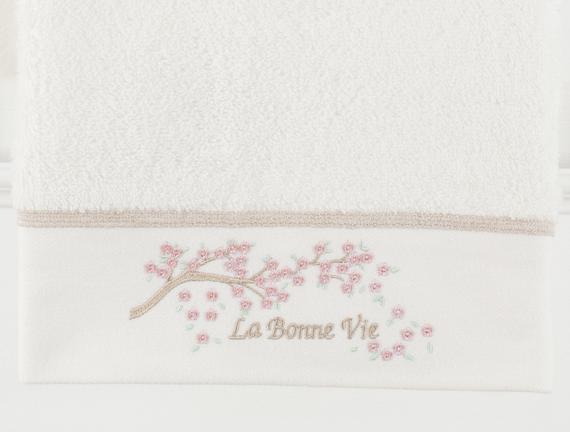 La Bonne Nakışlı Yüz Havlusu - Ekru / Taş